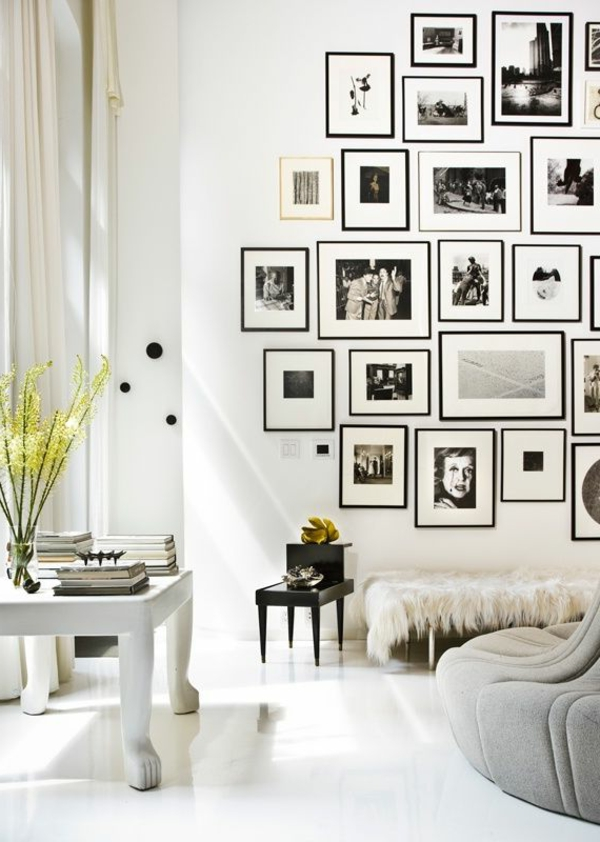 Living room walls decorate pictures