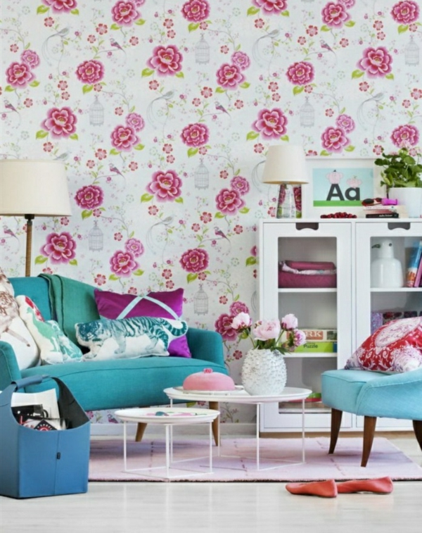 Living wall design wallpaper motivos florais