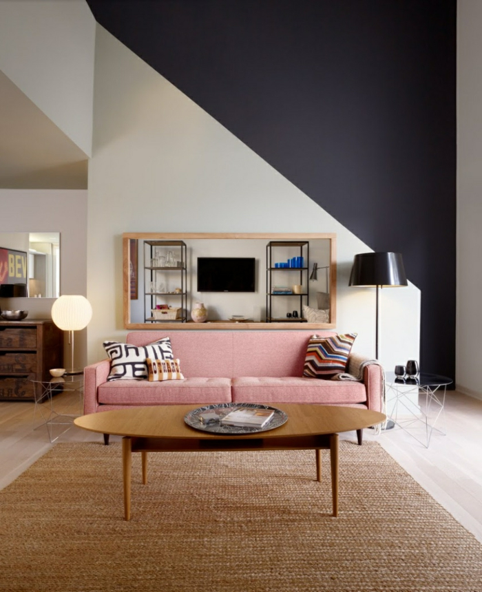 living room interior ideas bright pink sofa sisal carpet wall paint