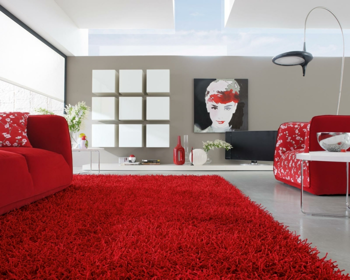Living room furniture ideas red carpet beige walls