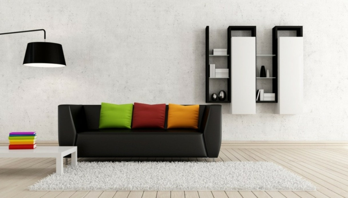 living room furniture ideas black sofa shelving minimalist