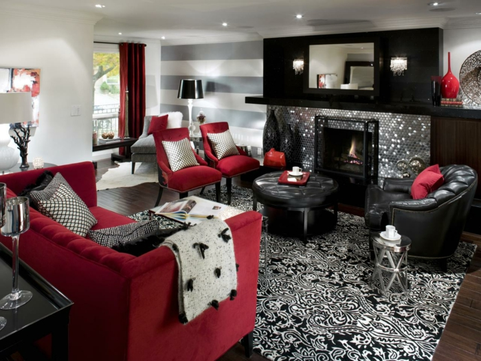 living room ideas carpet pattern red furniture