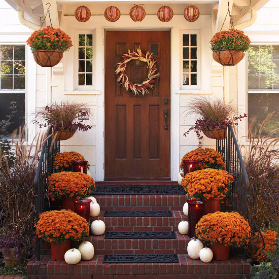 beautiful autumn decoration flower shrubs and hanging flower tubs