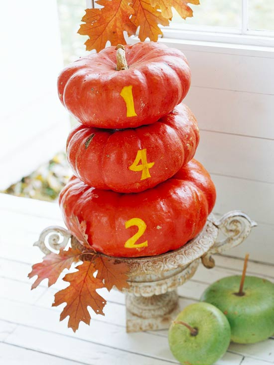 beautiful autumn decoration house nameplate made of orange pumpkins