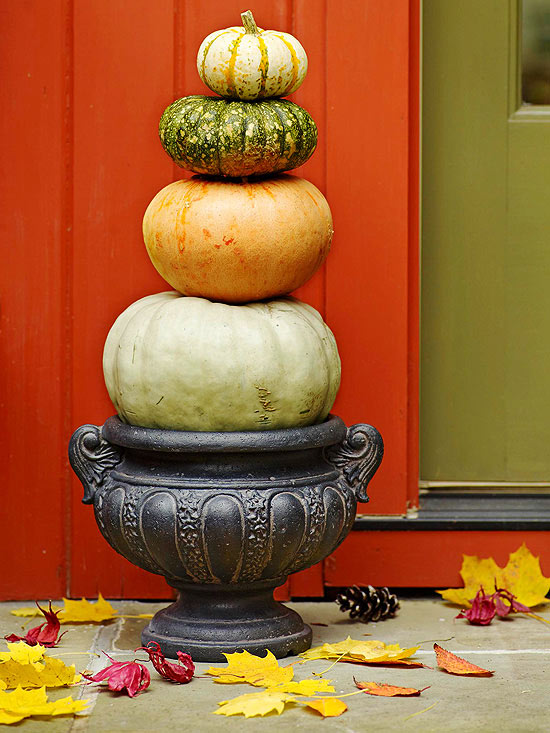 beautiful autumn decoration pumpkin tower colorful leaves
