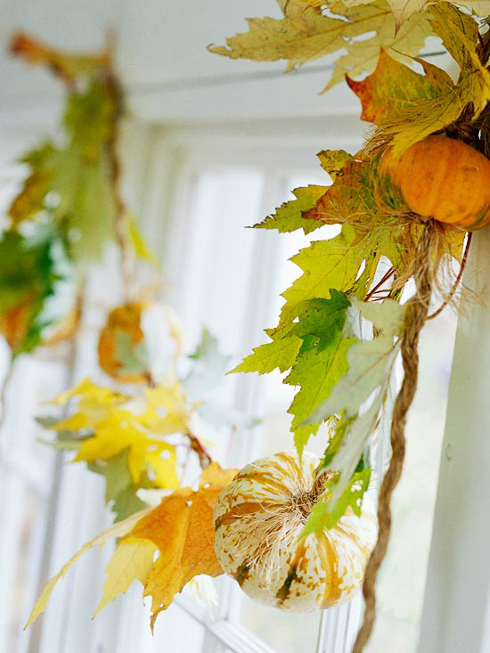 beautiful fall decoration grapevine and mini gourds garland