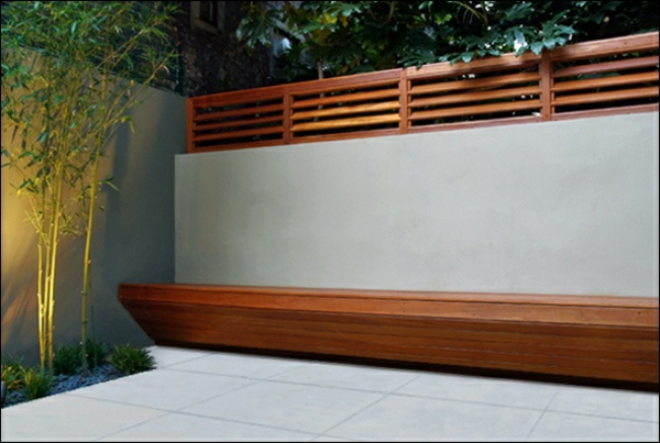 contemporary modern garden fences made of concrete and wood
