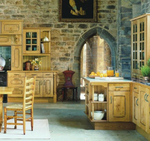 brick walls wood light stool wall shelves cupboard french